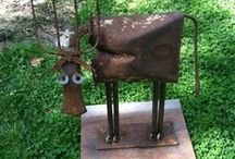 METAL ART / Cool metal statues made out nuts and bolts, cans, gears, junk metal, etc.