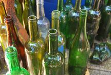 upcycled wine bottles / creative designs using old wine bottles. Much ingenuity & some DIY skills. if not your thing - call the local glass shop.