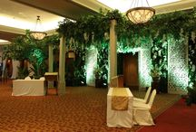 Indonesian / Javanese Wedding / Javanese gebyok ideas and its carving patterns, colors and natural greens were essential elements to bring out our Indonesia cultural theme. Together with natural selection of color in champagne and white flowers, traditional jasmine garlands, wooden and earthy decorative materials we presented this Indonesian themed ballroom wedding.  Embracing the Indonesia culture in a ballroom wedding decoration like this one was a definitely rewarding experience.