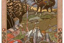 Ivan Bilibin Dark Forklore / There was something dark, mythic and beautifully primitive about world of folklore Ivan Bilibin created. Throughout his career he was inspired deeply by Slavic folklore and myth. He distinctly reflected the mountains, forests and lore of old Russia. Bilibin gained some renown in 1899, when he released his illustrations of Russian fairy tales which became popular.
