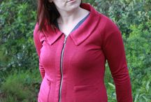 Sophie cardigan / The Sophie cardigan pattern by Muse. A cute, sporty semi-fitted style, featuring raglan sleeves, three neckline options, two pocket options, and a choice of button-up or zip-up front.  Find out more at sewingmuse.com