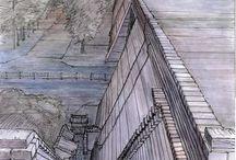 China. Xian. Urban Sketch / Plein air drawings of Xian old City Wall. Ink/watercolor by Evgeny Bondarenko
