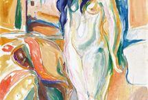 Edvard Munch / 1863-1944  Norwegian painter and printmaker whose intensely psychological themes built upon some of the main tenets of late 19th-century Symbolism greatly influenced German Expressionism in the early 20th century. Ο Νορβηγός ζωγράφος και χαράκτης που με επιρροές από τον Συμβολισμό του 19ου αιώνα δημιούργησε έντονα εκφραστικά και με ψυχολογική φόρτιση έργα και ενέπνευσε τον γερμανικό εξπρεσιονισμό στις αρχές του 20ού αιώνα.
