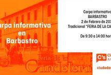 Carpas Informativas C's Barbastro / Ciudadanos Barbastro, agrupación de C's Aragón quiere acercarse a la ciudadanía a pie de calle, conocer sus inquietudes y sus reivindicaciones. Carpas Informativas y mesas informativas de nuestros proyectos para los ciudadanos