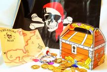 Pirates ARG! / Loot for pirate parties and dramatic play. Store bought and home made clothes, pirate hats, loot, treasures and treasure boxe.s Games to play at pirate parties.
