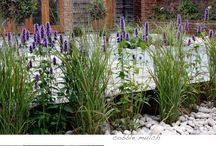 Barn Garden / Rustic green oak and simple modern palette of planting, cobble mulch and easy maintenance