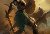 Characters. Paladin, Crusader, Khight, Barbarian, warrior / сюжет, поза, доспехи