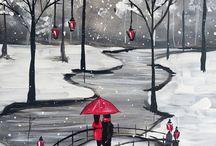 aquarelle parc sous la neige