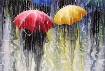 yağmur ve şemsiye