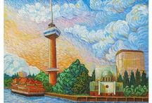 Erika Stanley Als Van Gogh / Erika Stanley makes paintings of Dutch cityscapes and buildings in the special style of Vincent van Gogh.