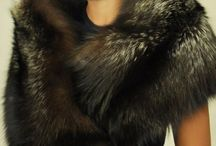 Silver fox fur hats and scarves