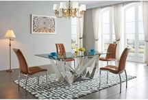 Modern Contemporary Glass Stainless Steel Brown Dining Collection