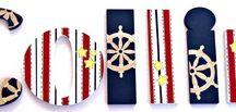 Nautical Painted Letters, Nautical Nursery Decor / Nautical Kids Room Wall Art, Nautical Painted Letters, Nautical Nursery Decor, Sailboat Painted Letters, Ocean Painted Letters
