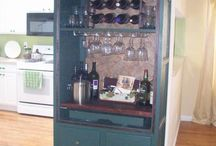 Repurpose tv armoire  into bar