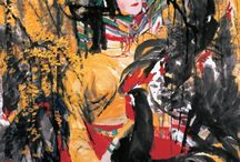 Shi Qi & zao wou-ki / Shi Qi was born in Fuqing His works are characterized by unstrained strokes, dense ink and strong color.
