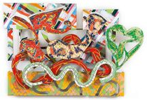 Frank STELLA / Frank Stella in a painter, sculptor and printmake, well-known for his artwork, influenced by minimalism and post-painterly abstraction. For a long period, his imagery consisted of slender of slender bands of colour that followed the outline of the literal shape of the picture support. But the supports themselves were shaped in a variety of ways, ranging from squares and rectangles to trapezoids, hexagons, and even zigzags. Stella single-handedly liberated painting from its traditional formats.