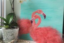 Flamingo art / Акрил и перья .