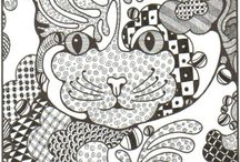black and white / zentangles and colouring