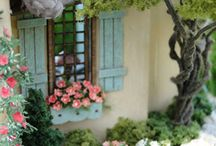 Miniatyrer växthus utemiljö