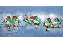 vrolijke schilderijen div. vogels
