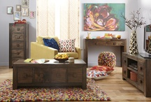 Dakota Living Room Trend / Dark wood, mixed textures and pops of colour make up the Dakota living room trend / by Littlewoods