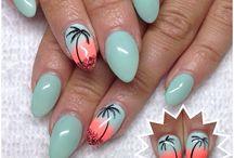 Palm Nails Ideas/ Tropical Nails Inspirations/ Summer Nails/ Tropikalne paznokcie hybrydowe z palmą