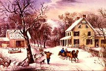 American Lithographs - Currier and Ives / Currier and Ives was a successful American printmaking firm headed by Nathaniel Currier (1813–1888) and James Merritt Ives (1824–1895). Based in New York City from 1834–1907, the prolific firm produced prints from paintings by fine artists as black and white lithographs that were hand coloured.