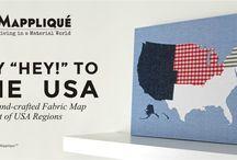 USA Fabric Map Wall Art
