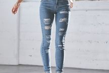 skinny high-waisted ripped jeans