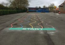 physical exercise for kids in the playground / playground markings are a great way for children to increase physical exercise through play.
