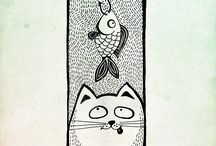 cat and fish / painting, sketches, drawing