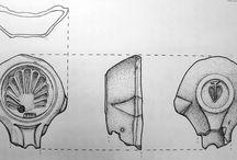 Dibujos arqueológicos / Consiste en una recopilación de dibujos de materiales arqueológicos, realizados a mano por mi misma. Por motivos de seguridad, no se revela la excavación de la que proceden, así como se intentará no proporcionar su tamaño real