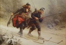 PAINTING PROTECTING THE LAST VIKING KING THE BIRKEBEINER
