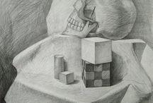 still life, academic drawing / Rysunki Martwej Natury wykonane w naszej Szkole Rysunku Ventzi