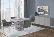 Modern Glass High Gloss Finish Grey Dining Collection
