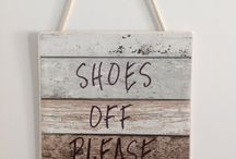 Shoes Off Sign to remind everyone not to wear shoes inside. Keep negative energy outside... / Hand crafted wooden shoes off please sign. Keep negative energy, germs and dust outside the house and let your feet breathe by taking your shoes off... More hygienic and better for your health.  ZenGifts.com.au