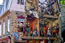 Painted houses. Lyon, Quebec etc. Úžasné domy s malbami.