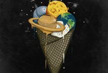 ART PRINTS BY ROBERT RICHTER / 1 - Galactic Ice Cream  2 - Night Painter  3 - Space Popscicle  4 - Space Flakes  5 - Painting Night