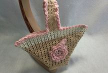 Pot holder / Sweets bag - Ornament for wall / Japanese handmade crocheted pot holder / sweets bag
