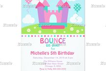 Girl Bounce House Birthday Party / This collection features a bouncy castle, bounce house situated on a hill with daisy flowers, two balloons and a bright blue sky with clouds. The colour palette consists of pink, purple, hot pink and green. Stripe background.