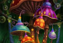 Environments (Fantasy) / Illustrated Fantasy World Environments/Backgrounds (More in the Realm of Dreams, Fairy Tales, Storybook, Alien Worlds, and Other Fantastical Worlds) • Pinterest.com/ScottMonaco • More at: QuietYell.com
