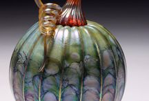 Glass - pumpkins, gourds & tomatoes