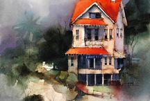 Gouache -watercolor painting