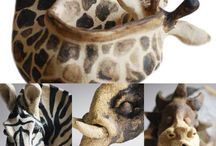 Stoneware ceramics / Giraffe, Zebra, Elephant & Lion sculptures made from stoneware