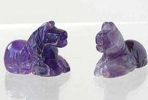 Animal Beads > Horse - Pony / Hand carved natural gemstone, boxwood and bone horse beads.