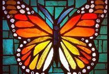 MOSAIC V butterflies birds / vlinders vogels libellen in mozaiek