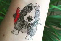 basset hound tattoo