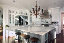 Kitchen Grey Island in White kitchen
