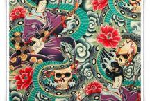 Telas asiáticas / Telas de algodón con temática oriental, geishas, tato, dragones, kokheshi