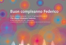 "Buon compleanno Federico / ""Happy birthday Federico"" - poster for the celebration of the birthday of Federico Fellini."